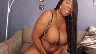 Chubby ebony Blaze spanking huge boobs and clapping ass